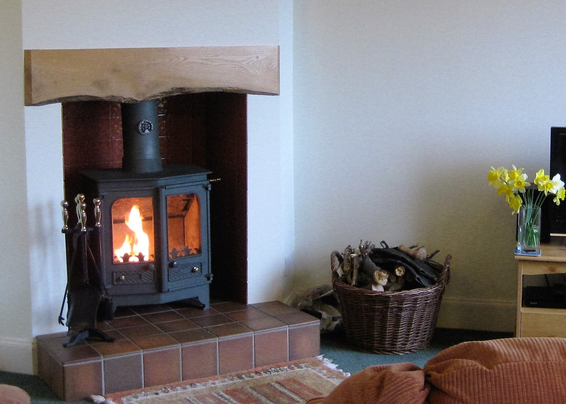 Wood burning stove in living room.