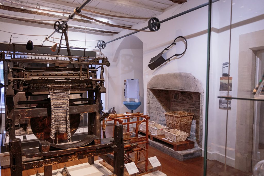 Some machinery in the textile towerhouse.