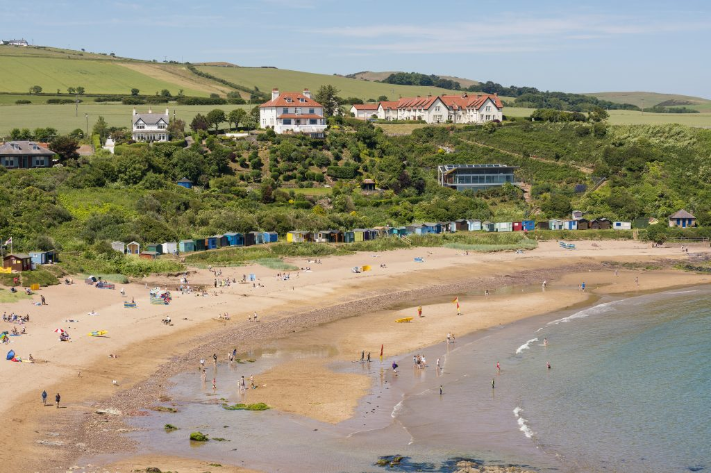 An overview of Coldingham Bay.