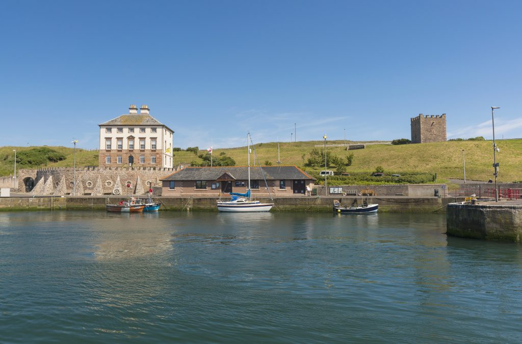 An overview of Eyemouth harbour.